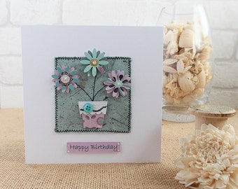 Machine Stitched Personalised Birthday Card, Get Well Card, Thank You Card, Thinking of You Card, Handmade Flower Card