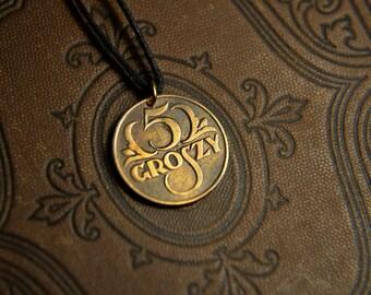 Rzeczpospolita polska 1928, 5 Groszy. Coin pendant. Сoin jewelry. Mens Necklace, Womens Necklace