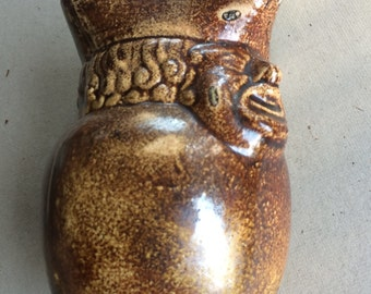 Antique Drip Brown Glazed British Pottery Toby Jug 1800s Man's Face Handle Unmarked