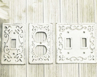 Light Switch Plate - Light Switch Cover - Switch Plate Cover - Cast Iron Switchplate - Nursery Wall Decor - Nursery Decor - Fleur de lis