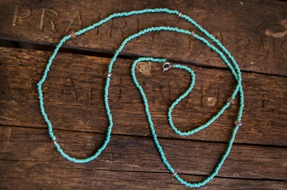 Long Simple Turquoise Necklace with champagne crystal accents