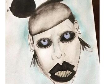 Marilyn Manson watercolor portrait