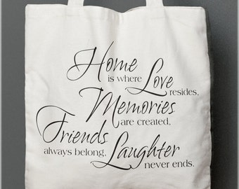 Home is where love resides Tote bag quote, shopping bag, gift friend, cotton tote