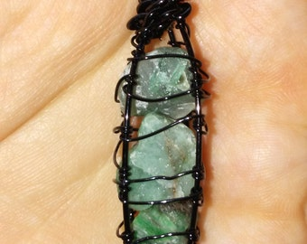 Rough emerald necklace