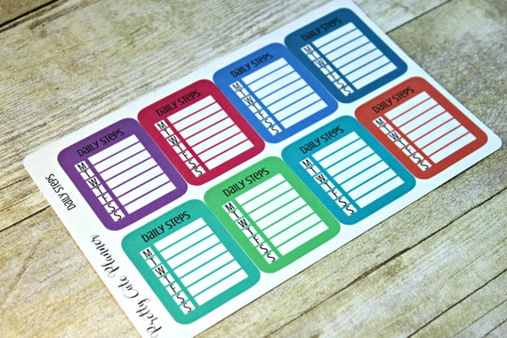Planner Stickers -Daily Step Tracker Stickers