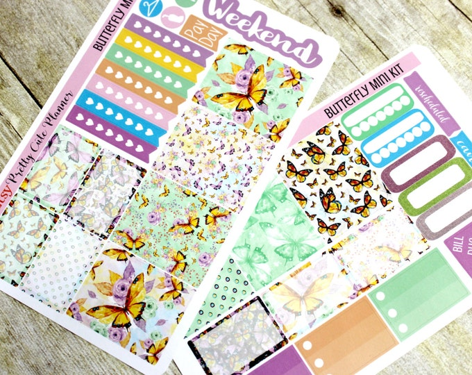 Planner Stickers - Weekly Planner Sticker Set - Erin Condren Life Planner - Happy Planner - Day Designer- Functional stickers Butterfly Kit