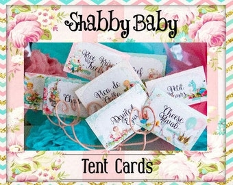 Shabby Baby-Tent/Food Place Cards Party Printables-Shabby Chic Parties-Baby Shower-Gender Reveal-DIY-Instant Download-Digital Decorations