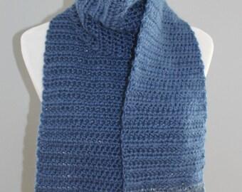 2 Color Denim Crochet Scarf, Denim Colored Scarf,  Long Crochet Scarf,