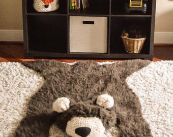 Bear Rug / Faux Bear Rug / woodland nursery / Baby room decor / animal playmat  /