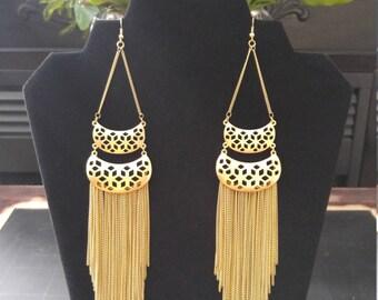 Beautiful long gold chandelier earrings! (LAST PAIR!)