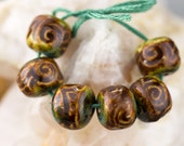 Chocolate brown and blue green flourish porcelain bead set-Ronnie's beads