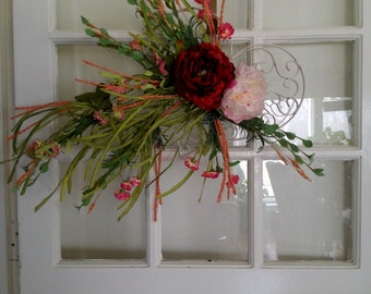 Valentine Wildflowers and Peony Wreath