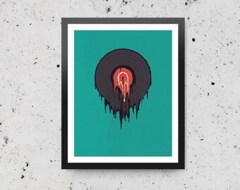 Drippy Record - Fine Art Digital Giclee Print