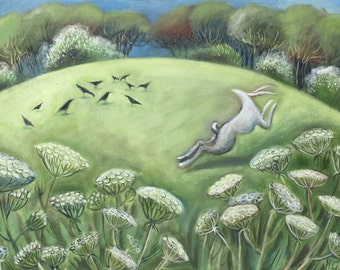 White Hare in the cow Parsley