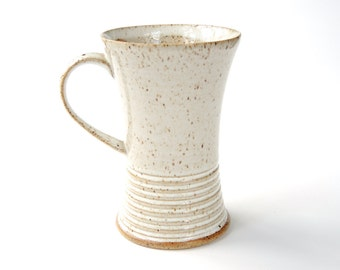 Ceramic mug - pottery coffee cup with stripes