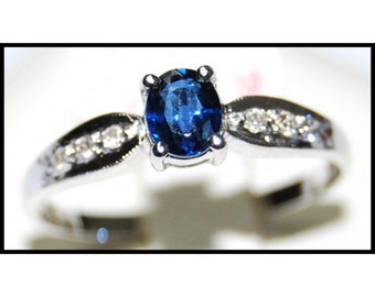 Solitaire 18K White Gold Diamond Unique Blue Sapphire Ring [R0129]