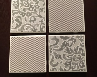 Set of 4 handmade coasters- grays and white chevron and leaf design