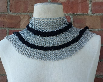 Black and Silver Bib Chainmail Necklace