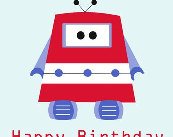Red Robot Birthday Card