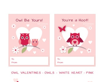 Printable - Classroom Valentines - Valentine Owls - White Heart