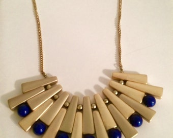 Gold retro statement necklace with blue beads