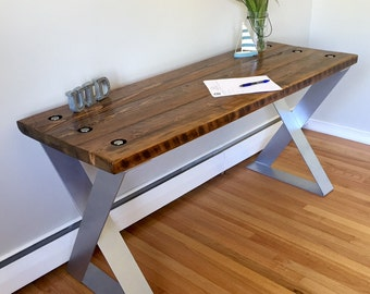 Reclaimed Barnwood Modern Desk / Entry Way Console / Table / Industrial Style!