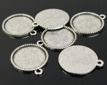 50 Round Antique Silver Bezel - for 18mm - Circle Pendant Blank Bezel . for Cabochon Cameo Pendants, Photo Jewelry, Post Setting
