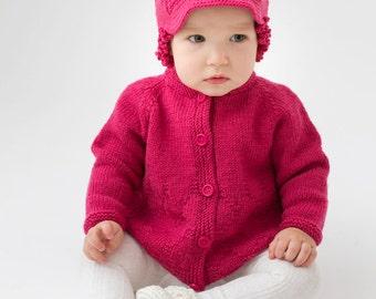 Cyclamen pink baby girl jacket merino sweater cardigan