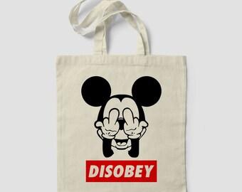DISOBEY-WEED Cannabis Marijuana leaf design Tote Bag MICKEY Mouse bag