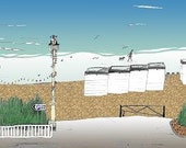 Worthing seaside print - Archival quality limited edition print 'A walk on the beach'