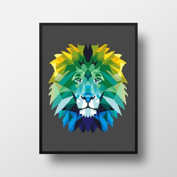 Cross stitch pattern lion geometric animal cat pdf by
