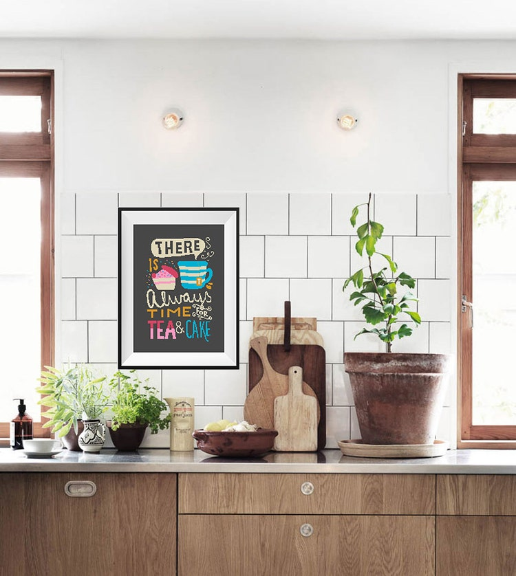 Tea cross stitch pattern kitchen decor pdf modern by for Modern kitchen designs pdf