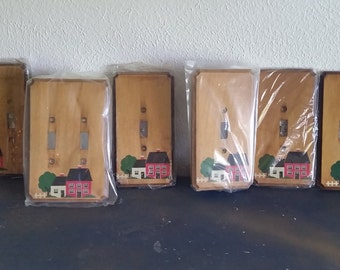 Vintage Shaker style wood light switch covers
