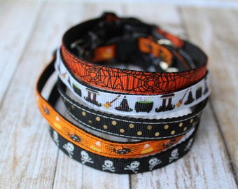 Halloween Cat Collars - Halloween Cat Harness - XS Halloween Dog Collar - Kitten collar - XS Dog Harness - Skull Cat Collar - Spider Collar