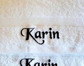 Personalised White Bath Towel, Luxury Egyptian towels 600 gsm