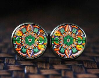 Mexican Art cufflinks, Mexican Folk Art, Mexican cufflinks, Mexican Ornamental, antique brass cufflinks, Colorfull statment cufflinks