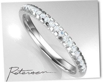 1.20mm Wedding Band, Diamond Wedding Ring, Wedding Band, Wedding ring Ring. Diamond Stacking Ring in 14k White gold Moissanite