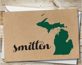 Michigan Smitten Card, Michigan Greeting Card, Custom Card, Michigan Home Card, Greetings from Michigan