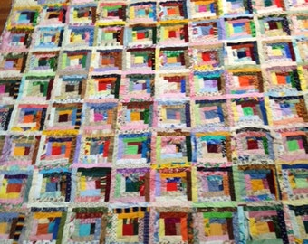 Colorful Scrappy Long Cabin Quilt  (Double Size)