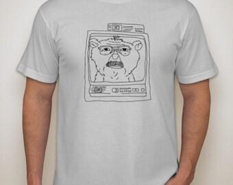 Men's American Apparel New Silver T-Shirt - Dad as a Teddy Bear on TV