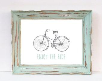 Enjoy the Ride, Bicycle, Wall Art, Wall Decor, Printable Wall Art