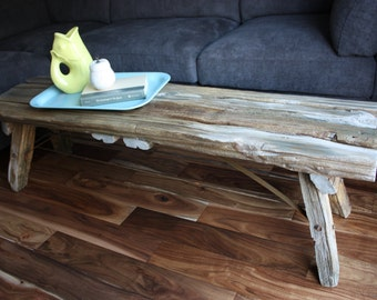 Custom Reclaimed Rustic Wood Bench/Coffee Table with Steel Bracing