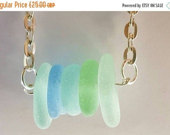 25% OFF Seaglass Mult colour Bar Necklace Seafoam shades
