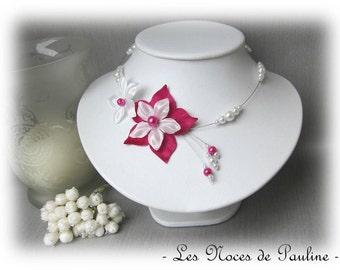 Wedding necklace fuchsia and white satin flower Julia has