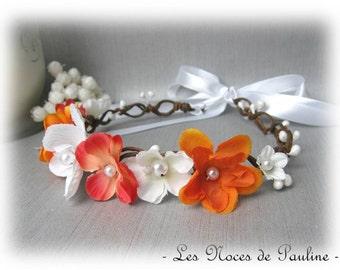 Wreath wedding orange and white Orchid