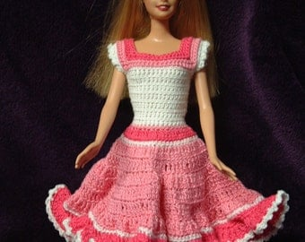 Home crocheted dress for Barbie or 11.5 inch fashion doll