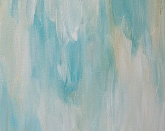 Blue Abstract Painting, Abstract Aqua Blue White Cream, Abstract Canvas Painting Original