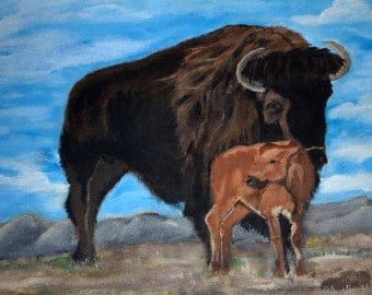 Mother & Child, Buffalo and  Calf, Mother's love