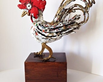 Mid Century Brutalist sculpture - Iron Rooster with Enamels