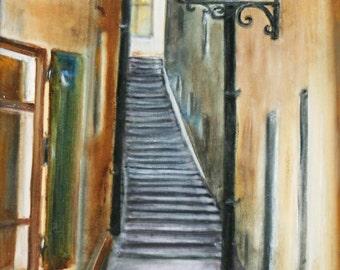 Street in Sweden - original oil painting, 30x40 cm, city, art, drawing, illustration
